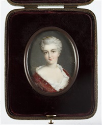 a lady, wearing crimson cloak with embroidered border over white dress with frilled lace trim, her powdered hair curled, upswept and dressed with a jewel set comb by louis ami arlaud-jurine