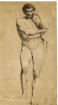 the education of achilles; standing male in the pose of hercules (2 works) by james barry