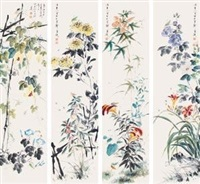 花卉 (in 4 parts) by wang xuetao