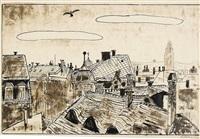 blick aus dem atelier auf die dächer von dresden-neustadt (+ partial figure study in chalk, verso) by hans körnig