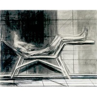 man on a lounge (+ female nude, sketch, verso) by sidney goodman