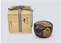 lacquer natsume depicting fan (tea caddy) by ichigo icho