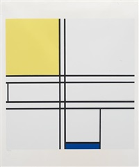 composition bleue et jaune by piet mondrian