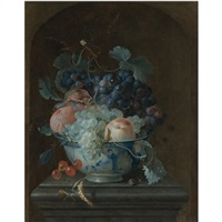 still life with grapes, cherries, peaches and a fig in a porcelain bowl resting on a ledge before a stone niche by coenraet (conrad) roepel