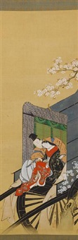 kakejiku (prince genji with his arm around his lover, who is holding a tanzaku slip, seated together at the front of a carriage) by kawamata tsunemasa