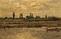 view of a dutch polder landscape by david adolf constant artz