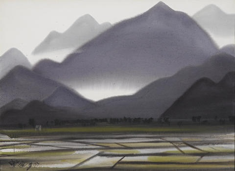 rice field under the mountain by shiy de jinn