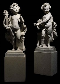 allegorical figures of a boy (+ girl; pair) by artus quellin the younger
