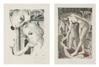 les pompéiennes (2 works) by paul delvaux