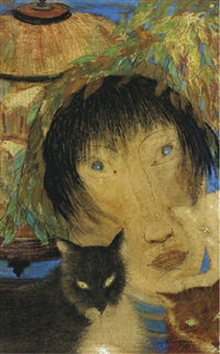 woman with cats (+ 2 others; 3 works) by ger (gerardus petrus) langeweg
