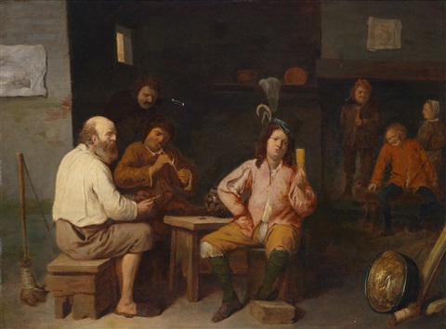 wirtshausinterieur mit rauchenden und spielenden bauern by david ryckaert iii