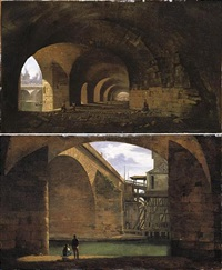 paris, a view of the vaults of the quai de gesvres near the pont au change (+ a view of the pont notre-dame from the vaults of the quai de gesvres; pair) by jean-baptiste cazin