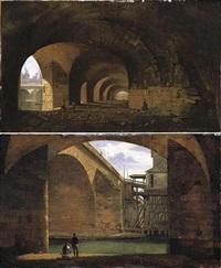 paris, a view of the vaults of the quai de gesvres near the pont au change (+ a view of the pont notre-dame from the vaults of the quai de gesvres; pair) by jean-baptiste cazin