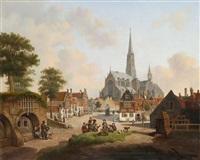 vue d'une ville en hollande animée de figures jouant aux cartes by jan hendrik verheyen