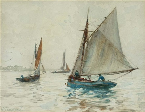 fishing vessels at sea set of 3 by frederick william scarborough