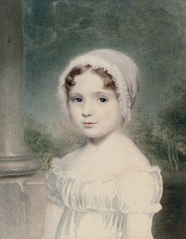 portrait of a young girl in a white cap by adam buck