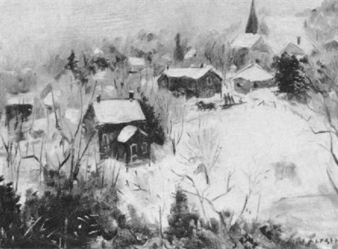 village in winter by john martin alfsen
