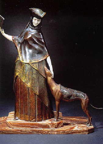 lady venitian with greyhound by gilbert
