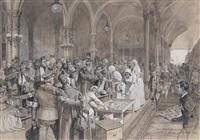 bahnhofskapelle mit kriegsverletzten und krankenschwestern by richard assmann