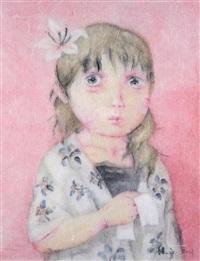 粉色女孩 镜框 设色纸本 by zeng jianyong