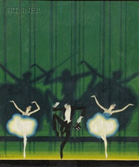 theatrical art deco scene (4 works) by ernest bolens