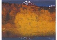 autumn in mountain lake by chuichi konno