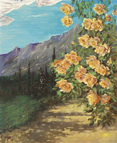 landscape with roses by olga aleksandrovna princess of storfyrstinde