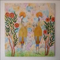 2 oiseaux avec houppette dans un jardin fleuri by mulongoy pili pili