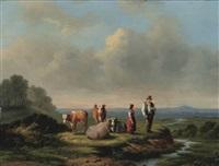 landschap met koeien en hoeder by jan van ravenswaay