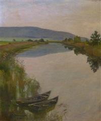 barque sur un cours d'eau by gustave jeanneret