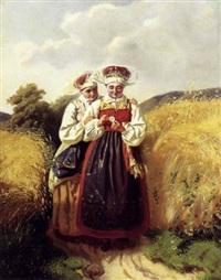 to piger i egnsdragter på en markvej by julia charlotte mortana strömberg