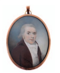 portrait of a gentleman with powdered hair wearing a brown coat, white waistcoat and cravat by patrick john mcmoreland