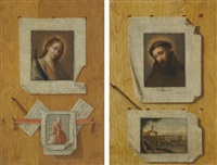 trompe l'oeil still lifes (pair) by andrea domenico remps
