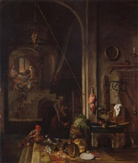 the interior of a kitchen with the supper at emmaus by gerrit (gerard) battem