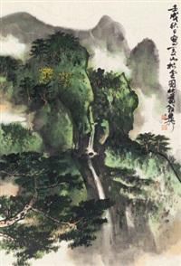 夏山松云 镜片 设色纸本 by xie zhiliu