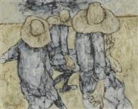 trois personnages au chapeau by claude weisbuch