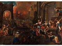 der brand von troja by gillis van valckenborch