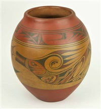 santa clara redware jar painted with avanyu designs by lela and luther gutierrez