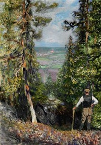 a russian forester pausing and overlooking a valley by yuri il'ich repin