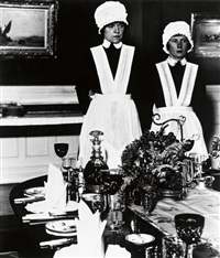 parlourmaid and under-parlourmaid ready to serve dinner by bill brandt