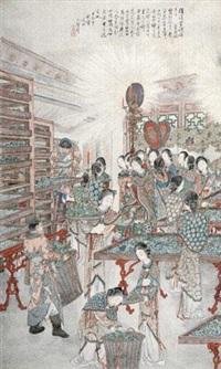 皇后视蚕图 by xu yan