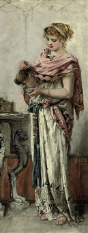 a maiden pouring wine by maria (philips-weber) weber