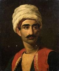 portrait présumé de hassan, l'un des deux gardiens de la girafe zarafa by alexandre-francois caminade