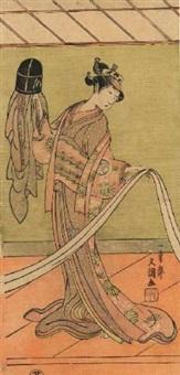 jeune femme debout en kimono regardant un obi (hosoban tate-e) by ippitsusai buncho