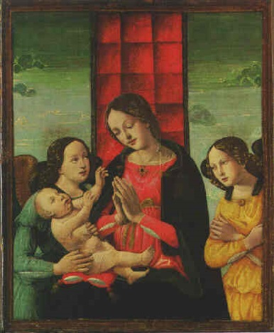 the madonna and child with two attendant angels by domenico ghirlandaio