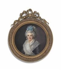 a lady, in aubergine dress with white gauze fichu, wearing a white mob cap adorned with a blue bow by lié-louis périn-salbreux