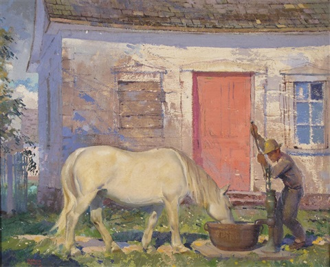 a farmer watering his horse at a well by george franklin arbuckle