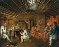 russische bauern in der stube by johann jakob mettenleiter