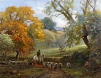 drover and sheep in a lane by ernest higgins rigg