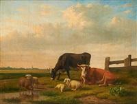 vaches et moutons sur fond de paysage by louis pierre verwee